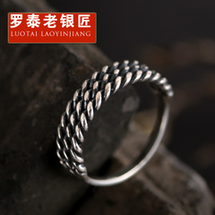Chandos and old silversmiths woven flax rings s925 silver ring Japanese and Korean ladies silver ring simple decorative vintage accessories