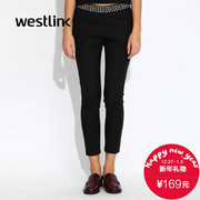 Westlink/West fall 2015 new letters elastic waist black slim leggings women's casual pants