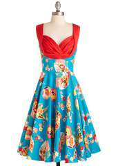 Retro turquoise 2015 Europe and fans printed dresses with red stitching frilly sundress sale