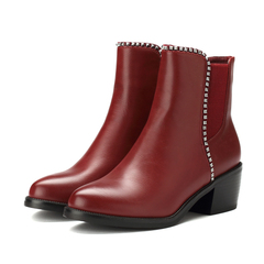 Name code 2015 chunky heels with the ankle boots in new round head for fall/winter women's elastic metal chain set low with Martin boots women