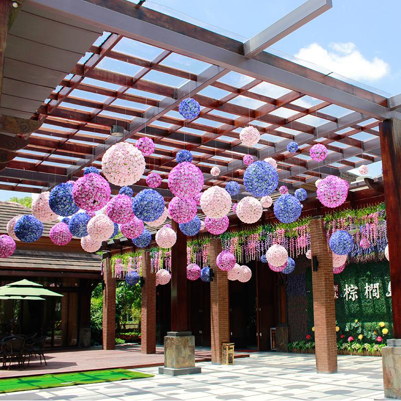 加密玫瑰仿真花球节日装饰花艺塑料假花婚庆4s店商场布置挂饰吊顶