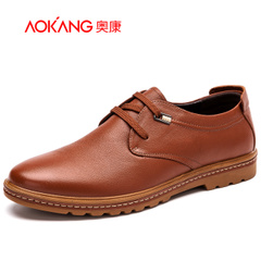 Aokang shoes spring 2016 new Korean daily casual leather shoes men's round head low men's shoe