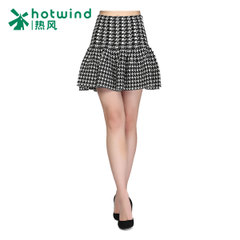 Hot spring skirt Plaid half a sweet skirt solid color knit skirt 14H4709