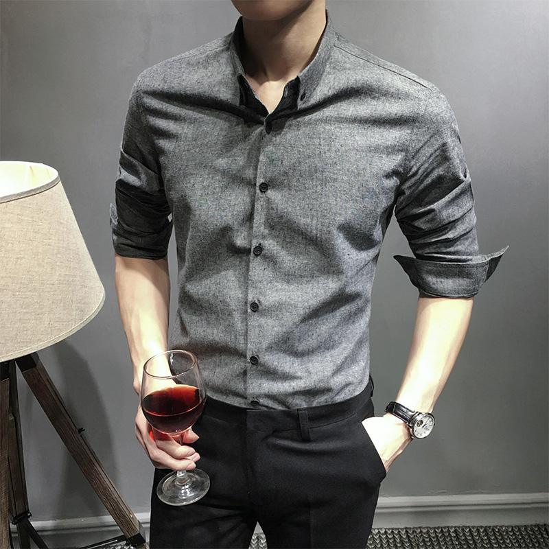 秋季男士韓版修身長袖襯衫 秋裝新款襯衣青年休閑灰色寸衫潮男裝