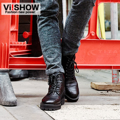 Viishow2014 new men's boots Western City boy Martin tipped a short tube cowhide lacing breathable men's boots
