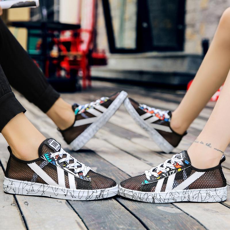 夏天全镂空通风洞洞鞋子男女中国风情侣系带鞋高中初中平板薄网鞋