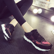 New Korean ulzzang Harajuku in autumn and winter sports shoes and leisure shoes Camo lace low cut shoes, thick-soled shoes