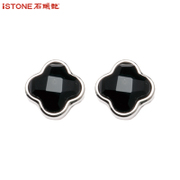Stone beauty Black Onyx stud earring in the South women and four leaf clover jewelry sent girlfriends girlfriend gifts