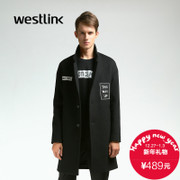 Westlink/West 2015 winter long lapels in the new European and American letters wool woolen cloth coat men jacket