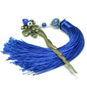 Ethnic jewelry vintage hair sticks to the original blue tassel porcelain bronze exaggerated hair BU Yao woman 2202