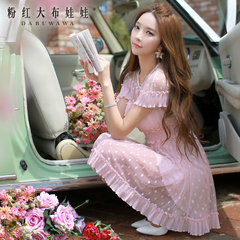 Big Pink doll 2015 summer dress new Korean version of the wooden ear waist skirt dress in summer