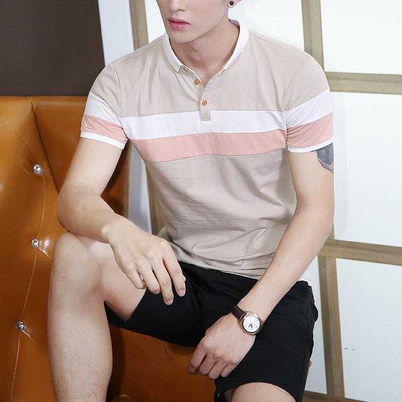 男士短袖T恤夏天有领纯棉翻领POLO衫韩版潮流男装青年带领上衣服