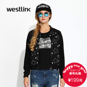 Westlink/West wind fall 2015 new College baseball stars mosaic collar zippered ladies jacket