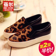 Le Fu, Becky, autumn new Leopard shoes canvas shoes women shoes lazy people the Korean version of tide low cut shoes shoes with a pedal