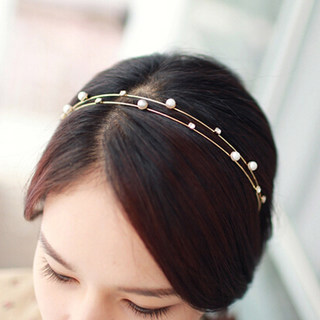 Know NI the Korean version of Pearl rhinestone double tiara hair headband headband hairpin encrusted luxury hair accessories