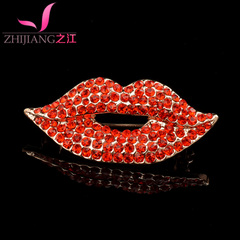 River of Red Crystal lips high-grade pin female Korea simple jewelry rhinestones brooch pin lovable birthday gift