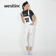 Westlink/West spring 2016 new letter holes romper women's cotton casual pants jumpsuit