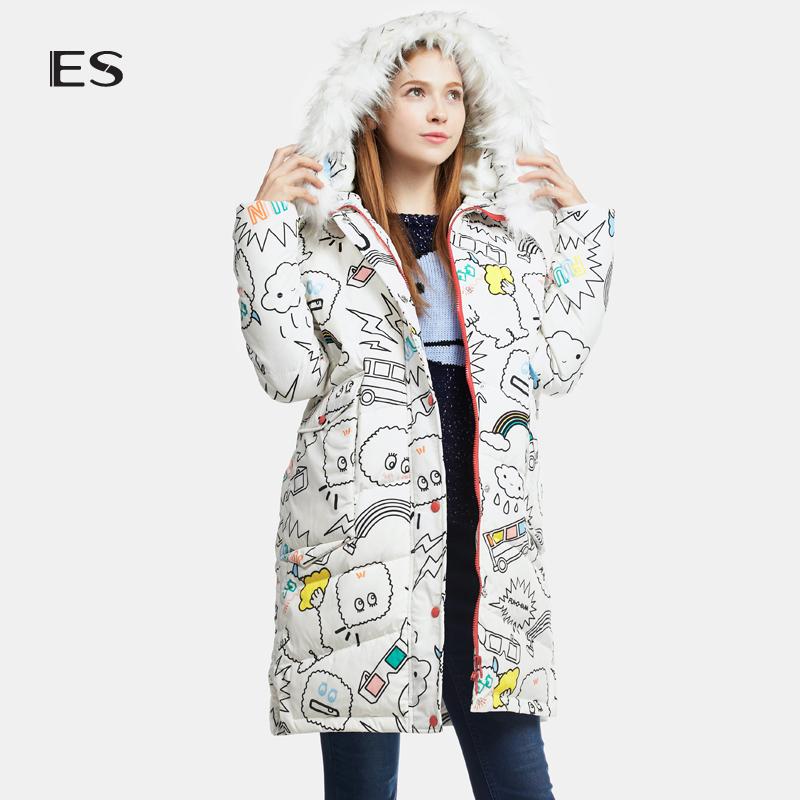 艾格 ES 2016 冬新品趣味涂鸦连帽羽绒服16033513586