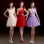 Bridesmaid dress lace short new 2015 red sisters toast costume skirt wedding dresses bridesmaid dress evening dress-