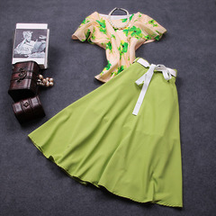 2015 summer new fashion in Europe and elegant temperament ladies print chiffon two-piece set