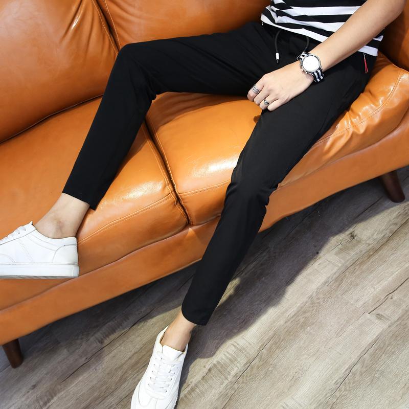 夏季韩版潮流小脚九分裤男士修身黑色休闲裤子男生薄款9分运动裤