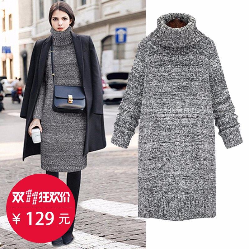 欧美冬季中长款加厚毛衣裙套头女宽松连衣裙高领韩版打