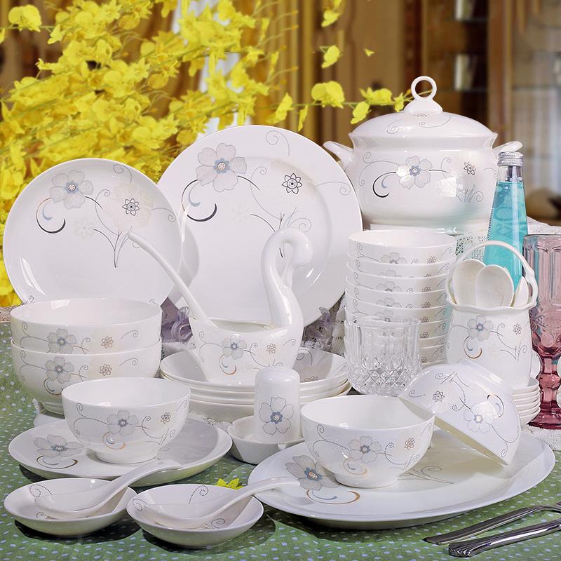 家用景德镇陶瓷器骨瓷餐具套装碗碟中式简约组合套碗盘子碗筷礼品