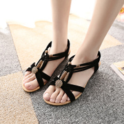 2015 new slope with Bohemian beaded sandals in the summer students with leisure beach-shoes flat women's shoes