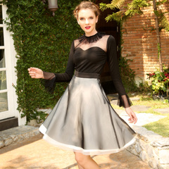 Europe Spring/Summer new style elegant Hepburn retro color covers your fluffy Anza umbrella skirts skirts skirts 9388