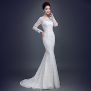 New 2015 spring fashion shoulder wedding dresses one shoulder lace fishtail small trailing summer wedding slim skinny