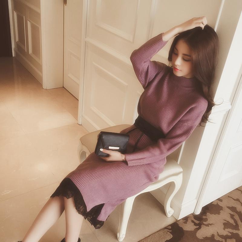 2017秋鼕新款修身收腰針織連衣裙女中長款長袖毛衣打底裙兩件套裝