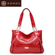 Honggu red Valley counter 2015 new genuine crocodile pattern ladies cowhide fashion leisure single shoulder bag 5829