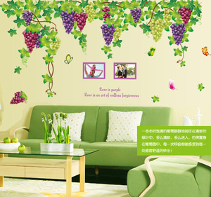 Grape vine wall sticker large living room TV wall restaurant sliding door glass decal bedroom background wall painting