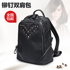 Female for 2015 summer England Backpack Backpack leather rivet Korean wave Travel Leisure student backpacks