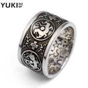 YUKI men 999 silver pure silver wide ring ring domineering people lucky four-phase boys vintage finger ring