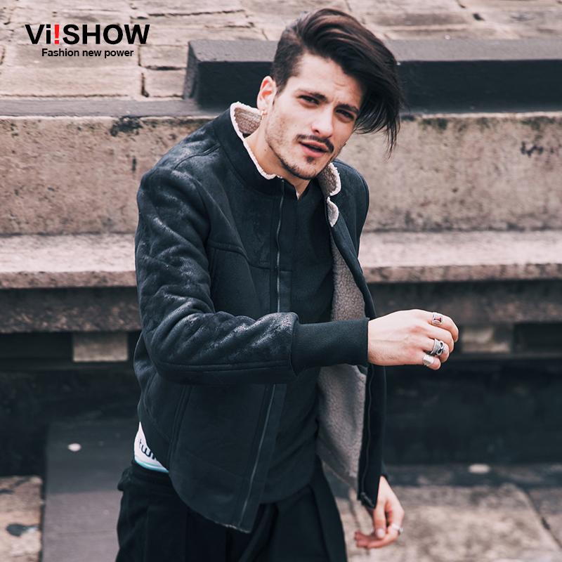 viishow2016秋冬新款夹克 欧美时尚仿皮加绒皮衣外套 短款夹克男