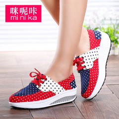 MI Ka Korean version of thick-soled canvas shaking in the autumn shoes cake recreational lazy sets foot shoes high women's shoes shoes