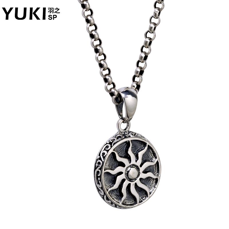 YUKI男士925银项链韩版复古太阳吊坠圆牌项坠潮人女男饰品