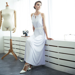 Temperament sexy pierced white metal hanging neck high waist long skirt dress elegantly modal 9030