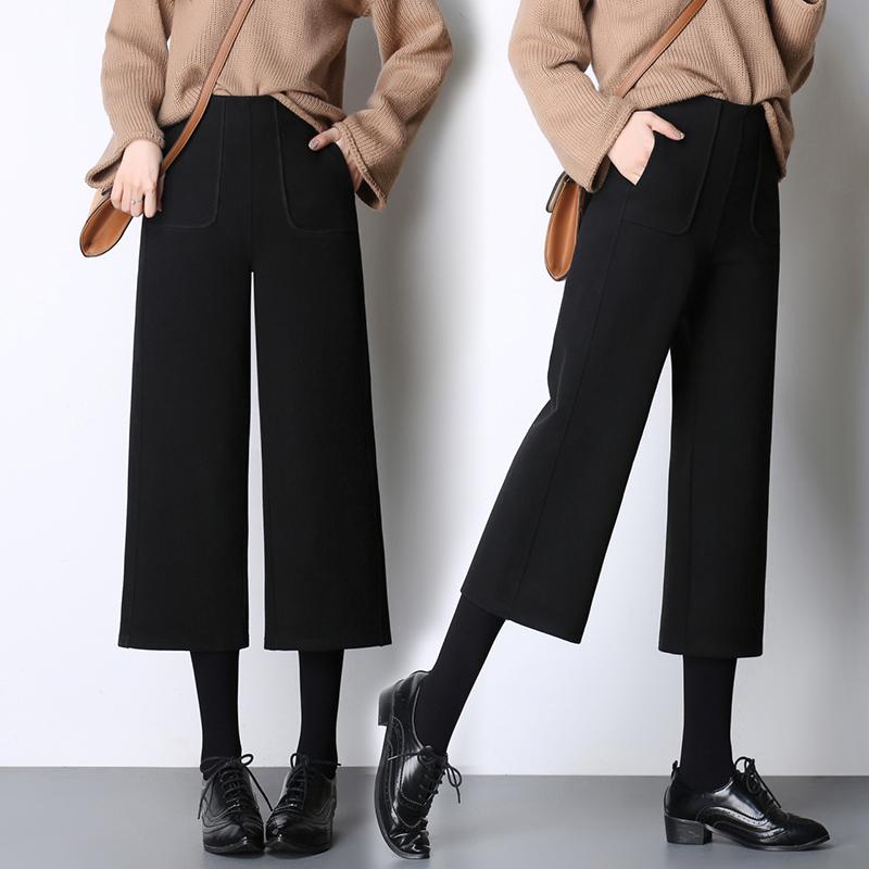 新款秋冬高腰保暖加厚七分直筒毛呢子裤宽松复古阔腿休闲九分裤女