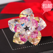 Lotus ring Austria import satellite drilling Crystal heart hand-beaded DIY jewelry materials