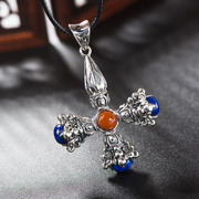 Is 925 Silver European Thai ladies natural lapis lazuli pendants Thai silver Joker cross pendant wave