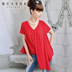 V neck t shirt women powder's Doll summer 2015 new irregular loose size tide women's short sleeve shirt