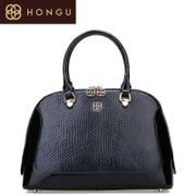Honggu Shoppe red Valley fine embossed genuine leather shell bags black laptop diagonal shoulder handbag 6998