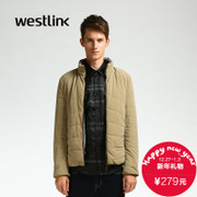 Westlink/West 2015 winter new two wear cotton clothing collar short letter print casual men's coat