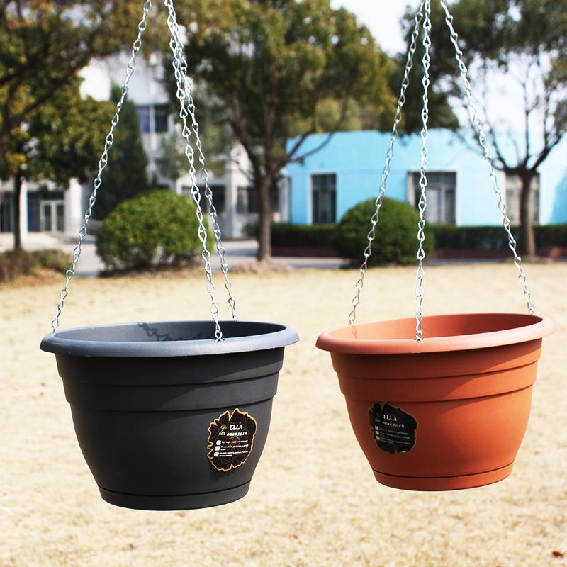 趣植园艺 艾拉系列吊兰花盆绿萝盆家庭阳台客厅种植盆送链子p489