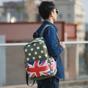 Blue space new casual canvas shoulder man bag street fashion students ' backpacks m flag star bags