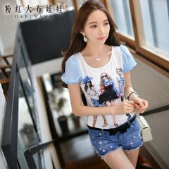 Women short sleeve summer pink doll summer 2015 new ladies casual t-shirts wave slim printed t shirt