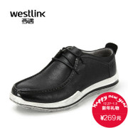 Westlink/West fall 2015 new casual soft leather strap with round head low leather men's shoes