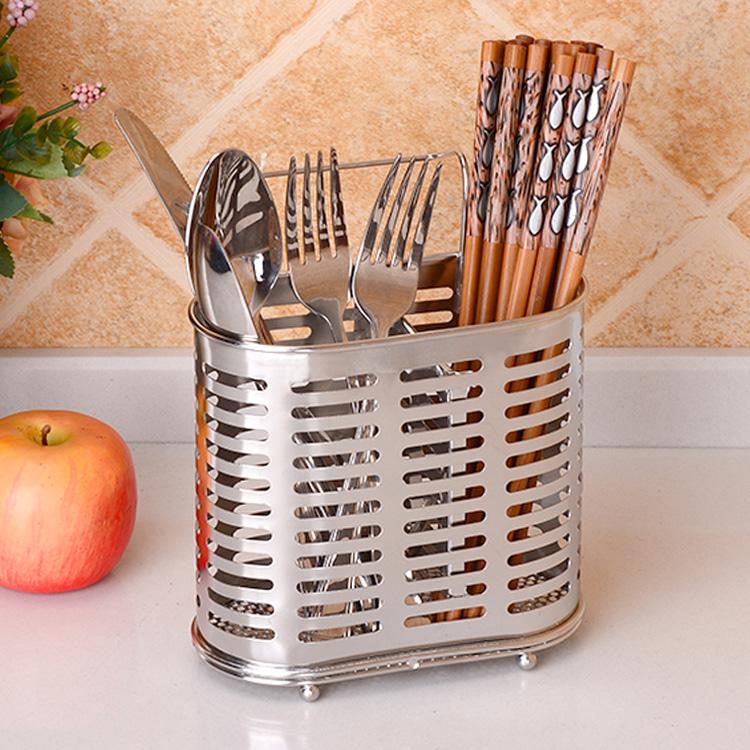 304不锈钢筷子筒沥水架筷笼厨房家用筷子架创意壁挂式双筒置物架
